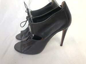 AQUAZZURA black leather pumps shoes open toe size 38 8 NEW