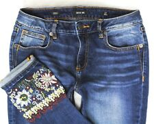MISS ME WANDERLUST CUFF SKINNY ANKLE EMBROIDERED MID RISE DENIM JEANS size 4 27