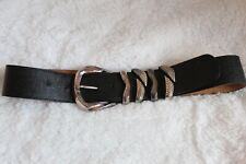 Vintage 90's Black Silver Buckle Belt (S/M)