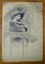 "Original Portrait 1894 Pencil Sketch by Ferdinand Balger Signed & Dated 9"" x 13"""
