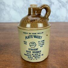 Vtg McCormick 1979 Platte Valley Corn Whiskey 4/5 qt. Stoneware Crock Jug