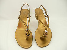 Gucci Gold Knotted Leather Kotao Thong Sandals Shoes Heels Sz 39.5/9.5 M