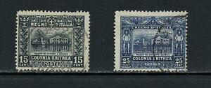 U888 Érythrée 1910/29 Gouvernement Bâtiment Perf 13 1/2 2v. D'Occasion