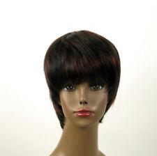 perruque femme afro 100% cheveux naturel méchée noir/rouge SHARONA 01/1b410