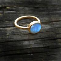 AAA Blue Fire Rainbow Moonstone Gemstone 14K Yellow Gold Wedding Gift Ring