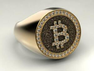 Bitcoin Ring For Men's in Real Yellow 925 Sterling Silver Men's Collection Gift