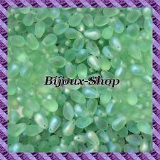 25 Perles de boheme goutte 9x6mm coloris Chrysolite Mat AB