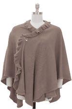 Women's Plus Size Knit  Ruffle Cape Shawl