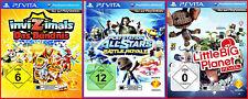 PSVITA - 3 GAMES - LittleBigPlanet + ALL STARS BATTLE ROYALE+INVIZIMALS MIT KAR