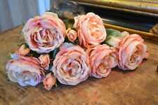 Bunch of 6 Antique Pink Peach Roses, Artificial Luxury Faux Silk Flowers