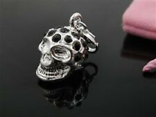 SILVER SKULL WITH BLACK RHINESTONES CLIP ON CHARM - NEW