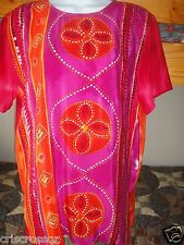 NEW * Diane Gilman 100% SILK s/s ORANGE Hot PINK Sequin TUNIC Top * sz S or M *
