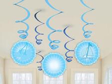 Bautizo azul patucos vajilla y decoraciones Amscan (pancarta/globo/remolino) Decoración remolinos colgantes