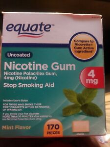 Brand New Equate Mint Flavor Uncoated Nicotine Polacrilex Gum, 4 mg, 170 count