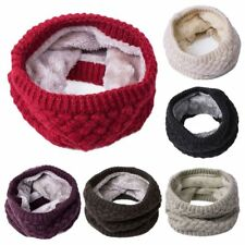 New Women Winter Warm Infinity Cable Knitted Neck Cowl Collar Velvet Scarf Shawl