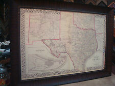 1876 TEXAS COUNTY MAP FRAMED S. A. MITCHELL