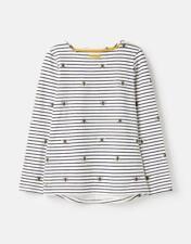 Joules Women Harbour Bee Print Long Sleeve Jersey Top Shirt - Size 18