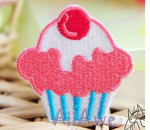 NEW CUPCAKE EMBROIDERED FABRIC IRON ON APPLIQUE PATCH BADGE