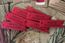 50 TOTAL ~  Merry Christmas Craft Red Gift Paper Label Hang Tags Cards DIY