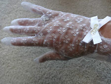 Bridal White Nylon Sheer Flowered Lace Gloves by Mi Deb - New in package