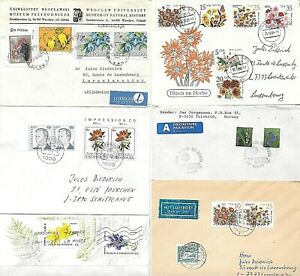FLOWERS on 6 mailed covers from different countries (m62)