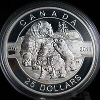 "Canada  2013 Fine Silver $25 Coin ""OH CANADA""~***POLAR BEAR WITH CUBS***"