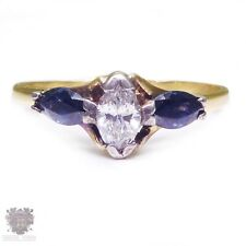Vintage solid 18k gold  diamond & natural sapphire  engagement ring