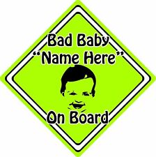Personalised Bad Baby/Child On Board Car Sign ~ Baby Face Silhouette ~ Green