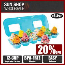 Fox Run Bakelicious Blue Plastic Cupcake Storage Carrier Party Carton 12 Cups