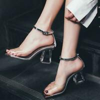 Women Rivet Med Heel Pointed Toe T-strap Buckle Sandals Casual Comfy Shoes Hd214