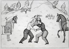 SHAHNAME-MINIATUR PERSIEN RINGKAMPF RINGKÄMPFER LUTTE PERSE 1841 SHAHNAMEH