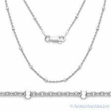 925 Italy Sterling Silver Rhodium-Plated 1.9mm Bead & 1.3mm Cable Chain Necklace