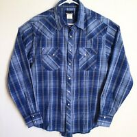 Wrangler Mens Large Blue Plaid Pearl Snap Western Shirt Cowboy