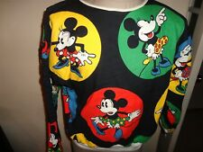 Vtg 80's Reversible Mickey Mouse Minnie Mouse 2 Side Open Neck Sweatshirt Fits L