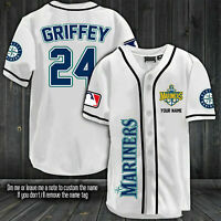 Ken Griffey Jr #24 Seattle Mariners All Over Print Fanmade Baseball Jersey White