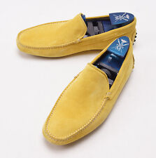 New $575 SUTOR MANTELLASSI Yellow Calf Suede Driving Moccasins US 6 D Shoes