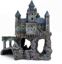 Castle Aquarium Decoration Hand Painted with Realistic Details Over 14.5 Inches