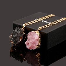 Pink Druzy Crystal Necklace Gold Edged Quartz Stone Irregular Pendant Jewelry