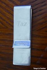 """Tiffany & Co. Solid 925 Sterling Silver Money Clip """"Engraved Taz"""""""