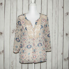 Anthropologie Maeve Women's V Neck BOHO Blouse Beige Mesh Knit Trim Floral sz 4