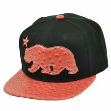 California Republic Cali Bear Flag Ostrich Flat Bill Snapback Black Red Hat Cap