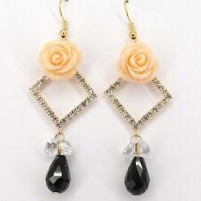 """2.5"""" Flower Teardrop Drop Dangle Earrings Crystal Clear Black Costume Jewel 692"""