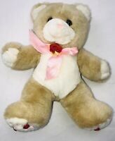 "Cuddle Wit Teddy Bear 12"" Stuffed Plush Red Rose Pink Bow Flowers On Feet"