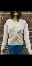 Reversible Celeb Knot Front Twist Jumper Sweater Baby PINK Knitted One Size 8-14
