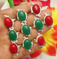 10PCS BEAUTIFUL RINGS GREEN ONYX & CORAL GEMSTONE 925 STERLING SILVER OVERLAY