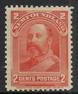 NEWFOUNDLAND SCOTT 82 MNG VF (D) - 1898 2c VERMILION ISSUE   CV $12.50