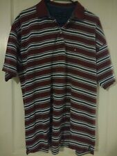 Tommy Hilfiger Men's Short Sleeved Polo Stripes Maroon, Blue & White XL
