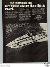 1968 PAPER AD Ford Miami Nassau Speed Race Donzi Baby Boat Critchfield Marine