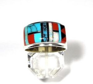 Multicolor Inlay 925 Sterling Silver Men's, Woman Band Ring Size 12