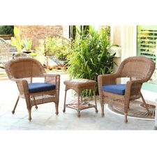 Jeco 3-Piece Patio All-Weather Wicker Chat Set with Midnight Blue Cushions